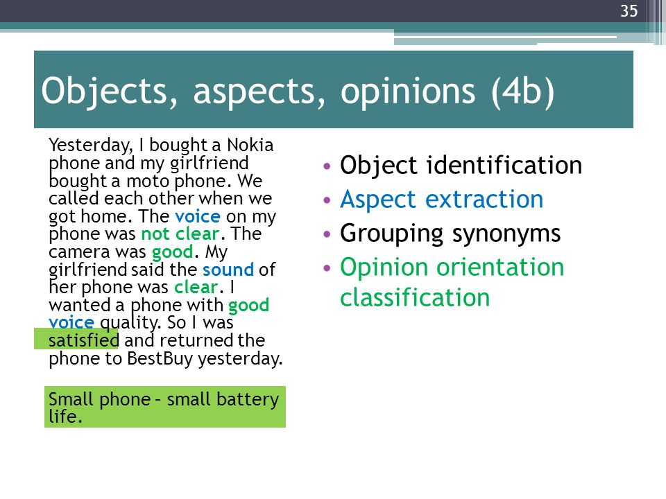 Objects, aspects, opinions (4b)