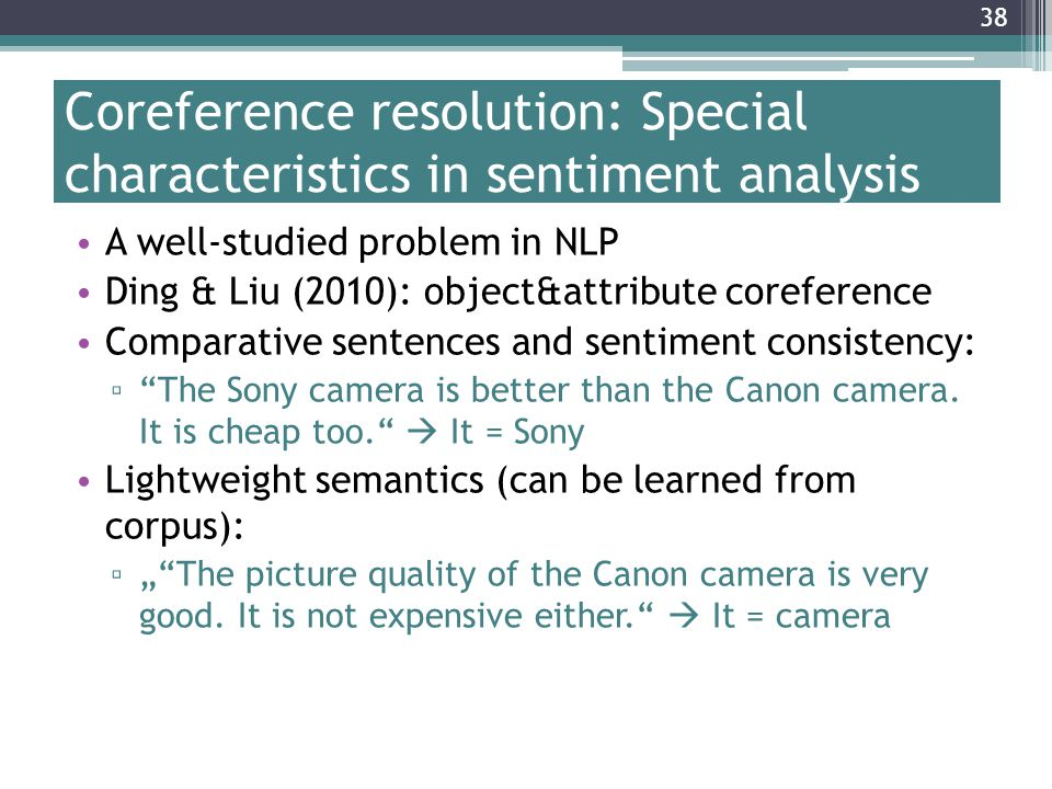 Coreference resolution: Special characteristics in sentiment analysis