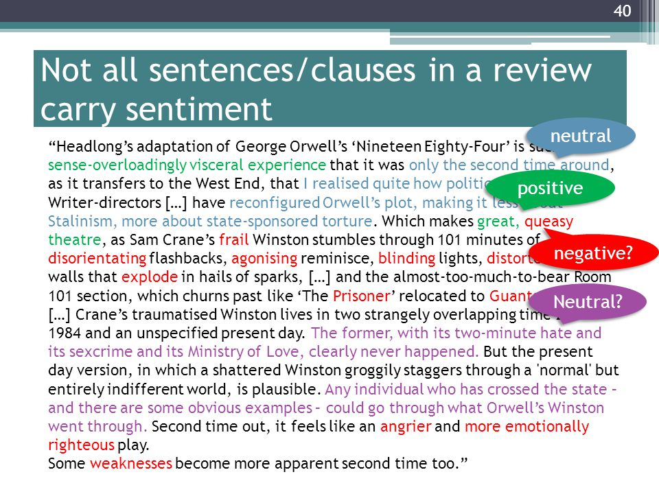 Not all sentences/clauses in a review carry sentiment