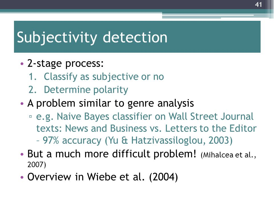 Subjectivity detection