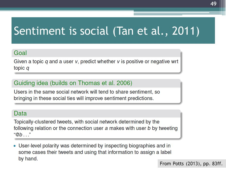 Sentiment is social (Tan et al., 2011)