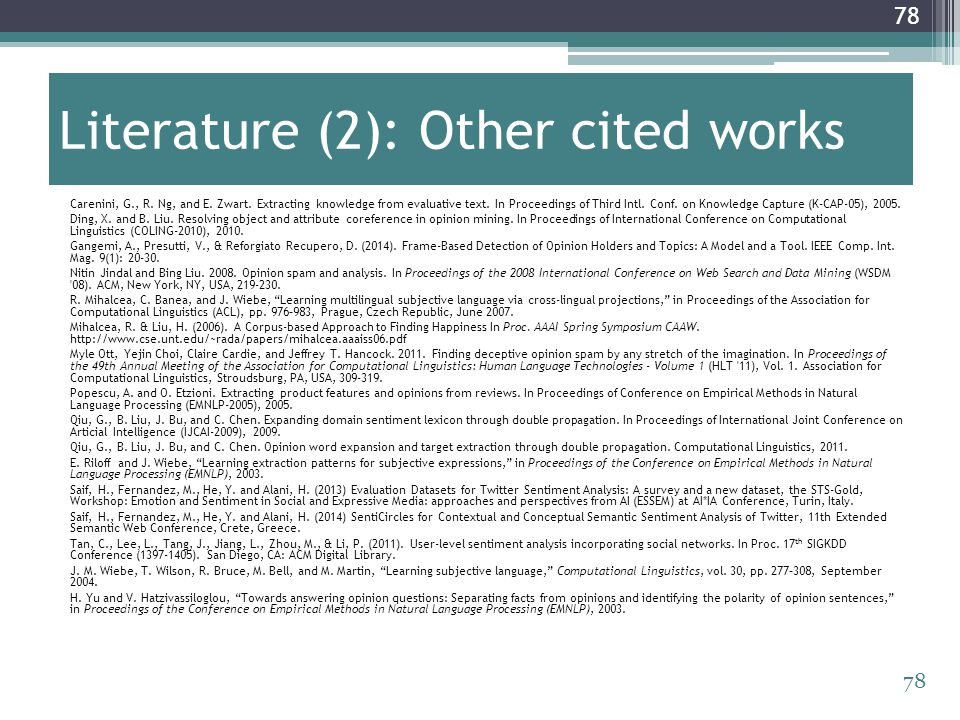 Literature (2): Other cited works