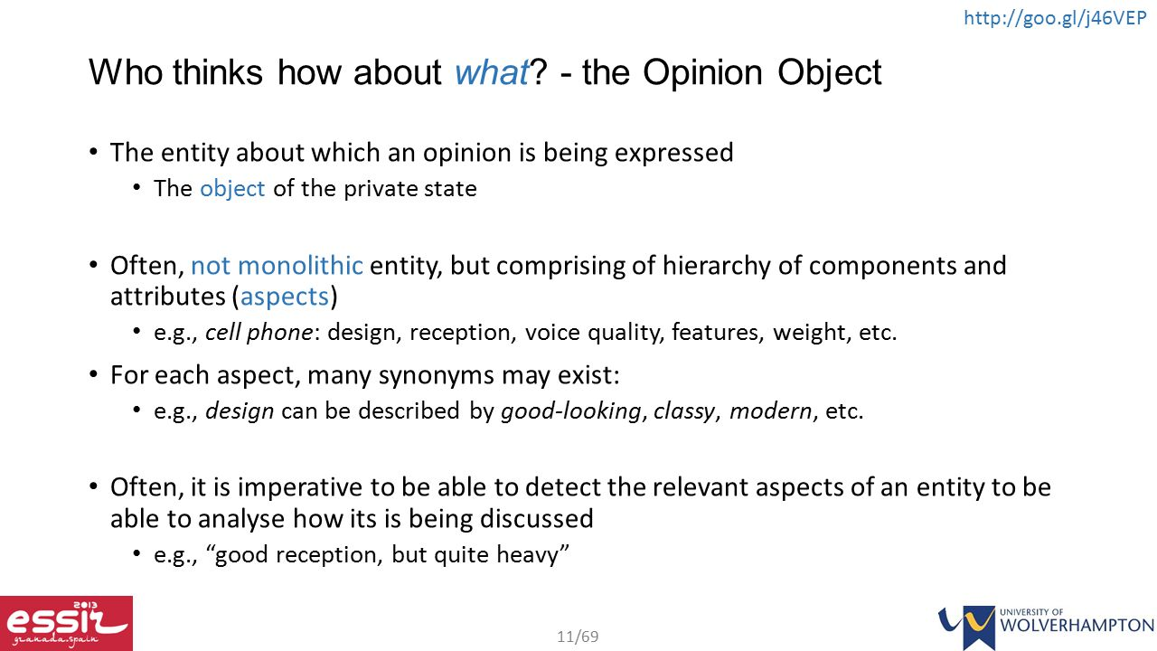 Who thinks how about what - the Opinion Object