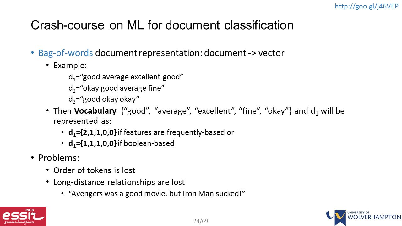 Crash-course on ML for document classification