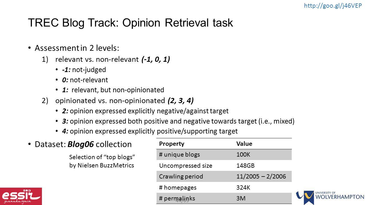 TREC Blog Track: Opinion Retrieval task