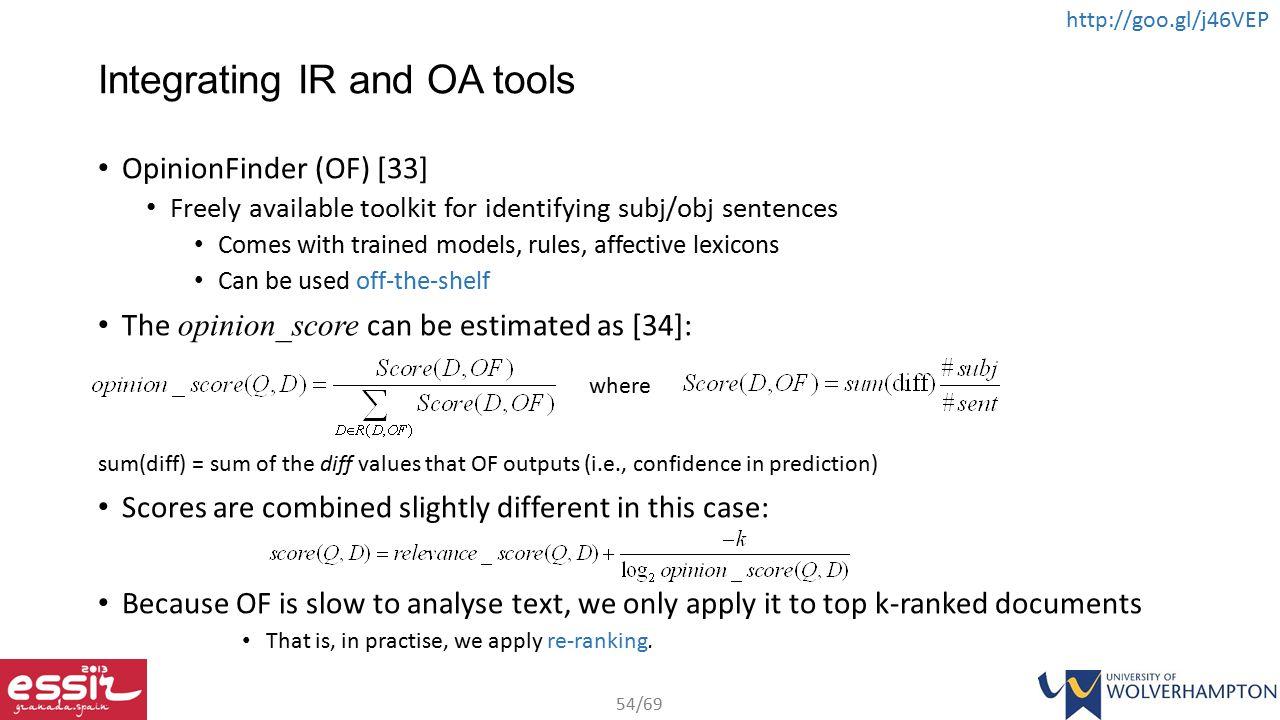 Integrating IR and OA tools