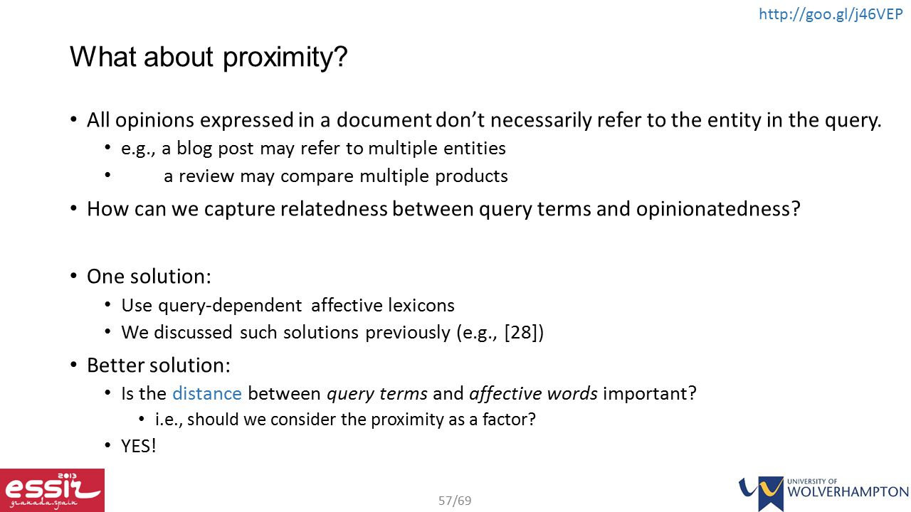 What about proximity All opinions expressed in a document don't necessarily refer to the entity in the query.
