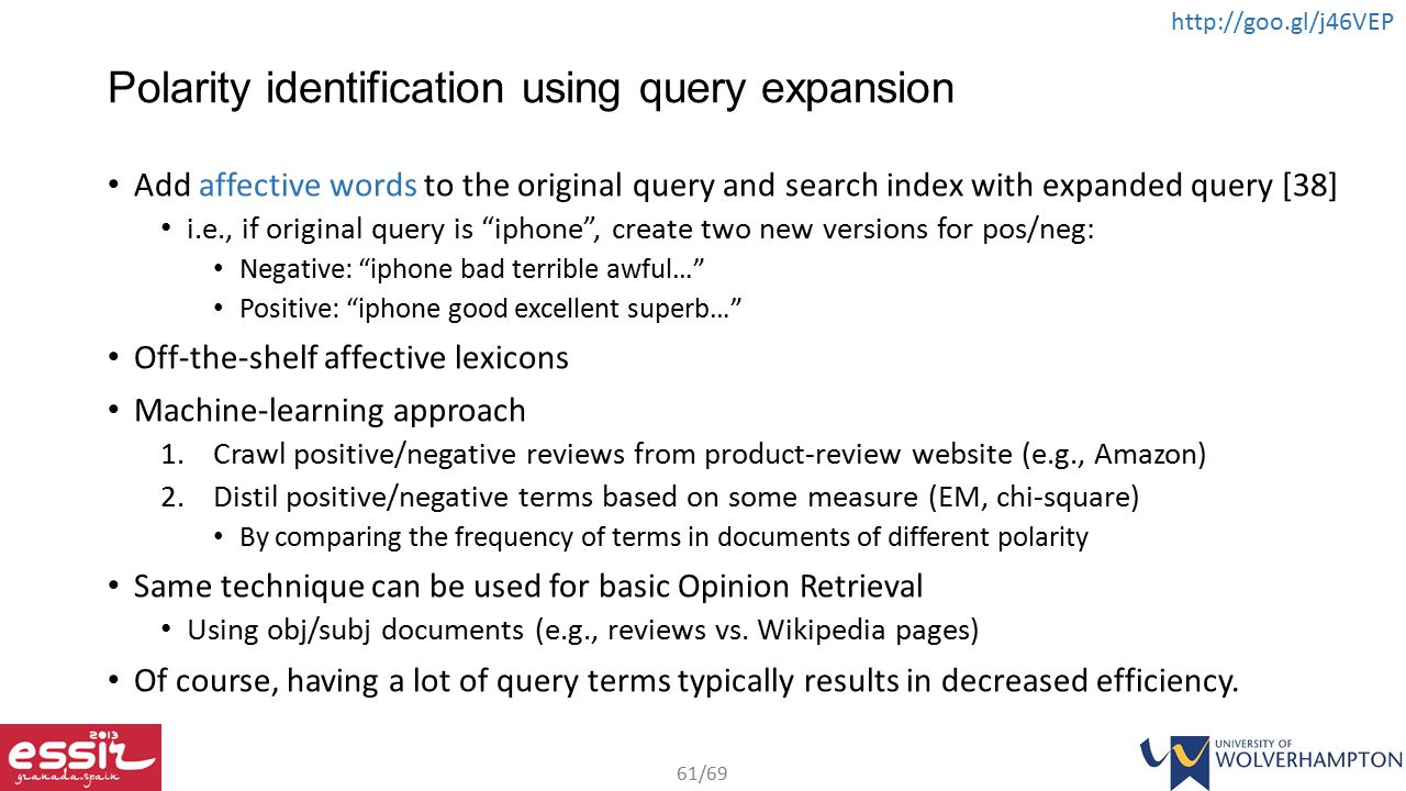 Polarity identification using query expansion