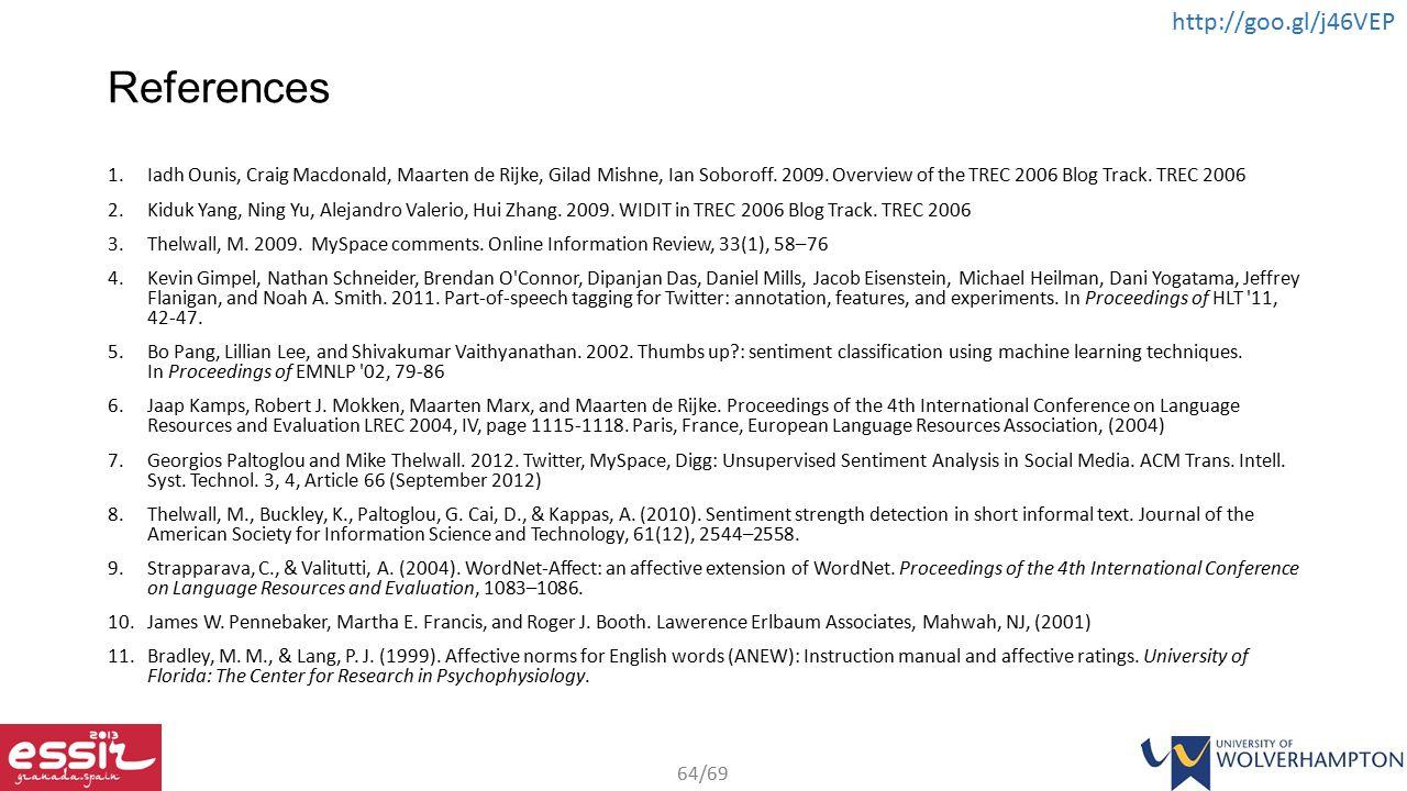 References Iadh Ounis, Craig Macdonald, Maarten de Rijke, Gilad Mishne, Ian Soboroff. 2009. Overview of the TREC 2006 Blog Track. TREC 2006.