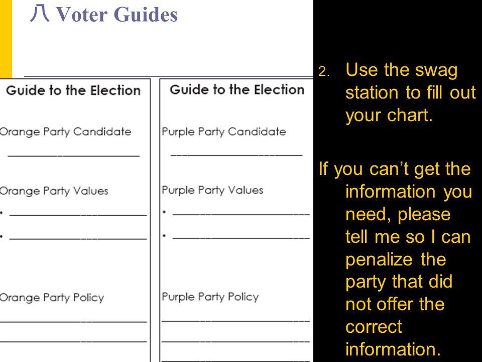八 Voter Guides Use the swag station to fill out your chart.