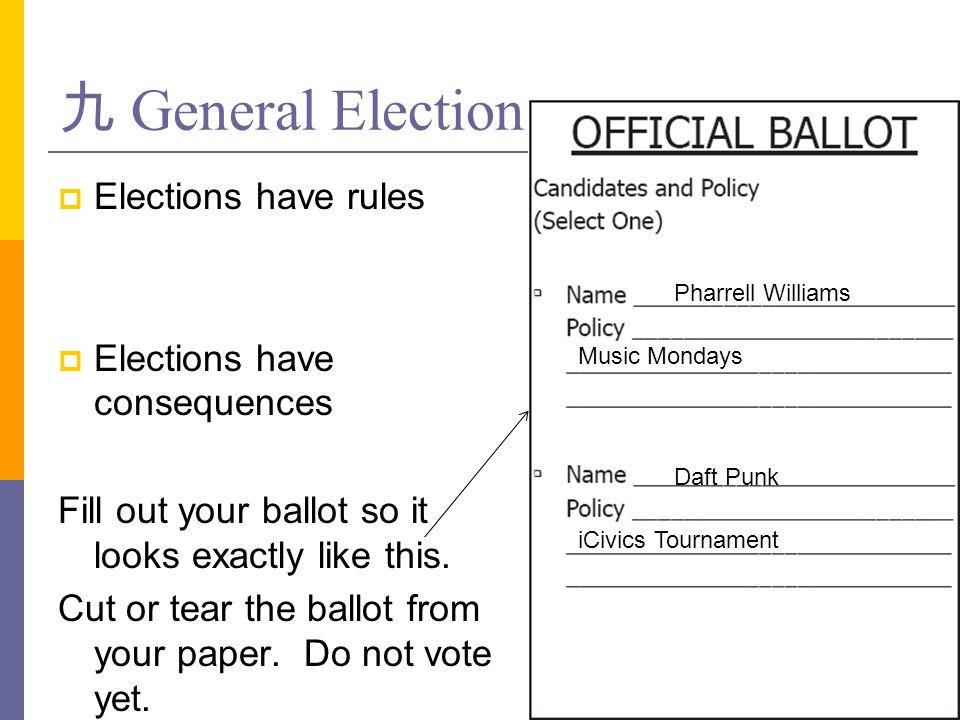 九 General Election Elections have rules Elections have consequences