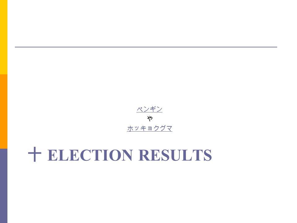 ペンギン や ホッキョクグマ 十 Election results