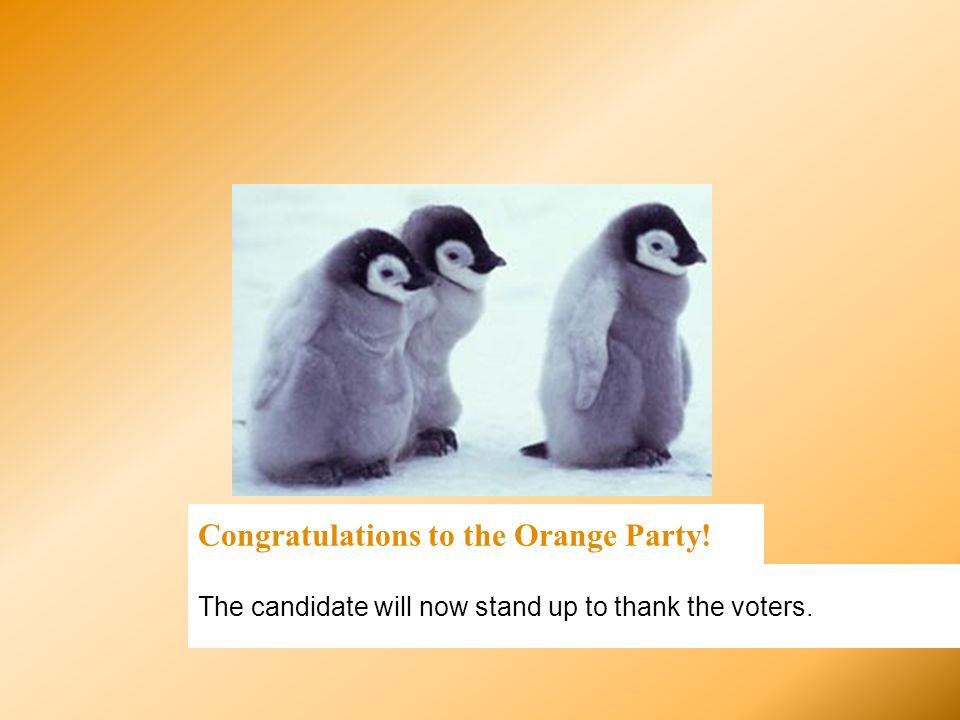 Congratulations to the Orange Party!