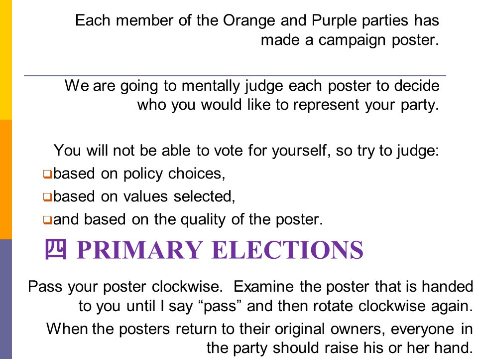 Each member of the Orange and Purple parties has made a campaign poster.