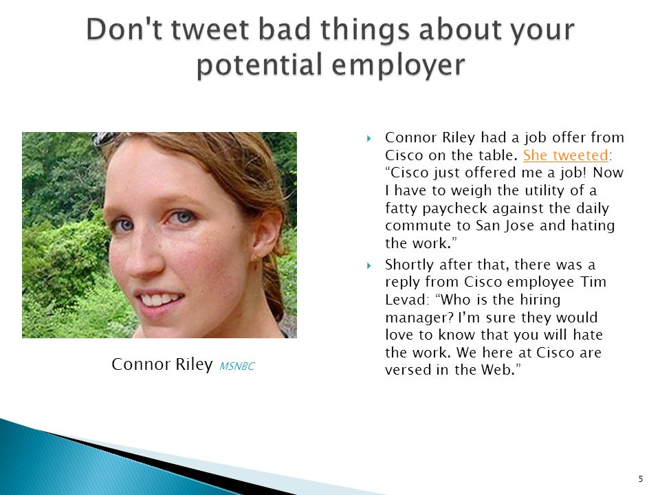 Don t tweet bad things about your potential employer