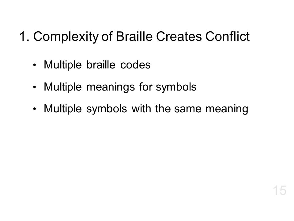 1. Complexity of Braille Creates Conflict