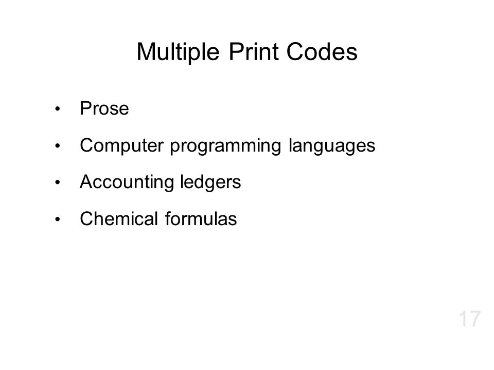 Multiple Print Codes Prose Computer programming languages