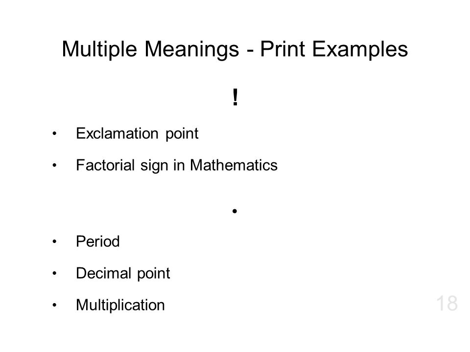Multiple Meanings - Print Examples