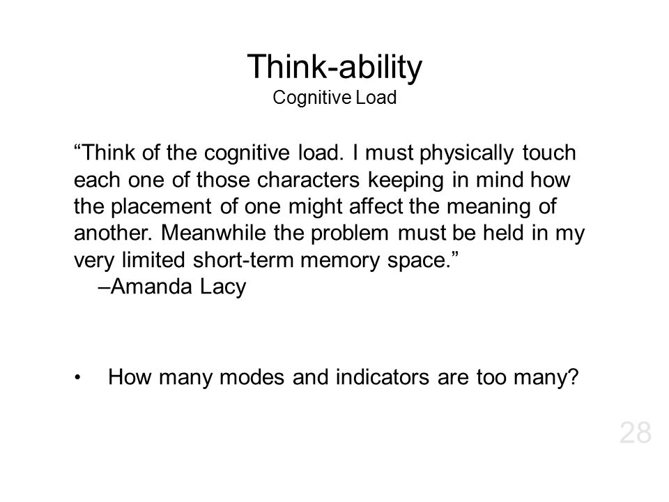 Think-ability Cognitive Load