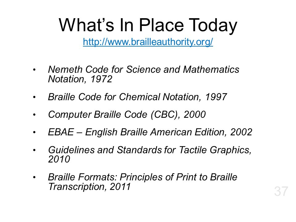 What's In Place Today http://www.brailleauthority.org/