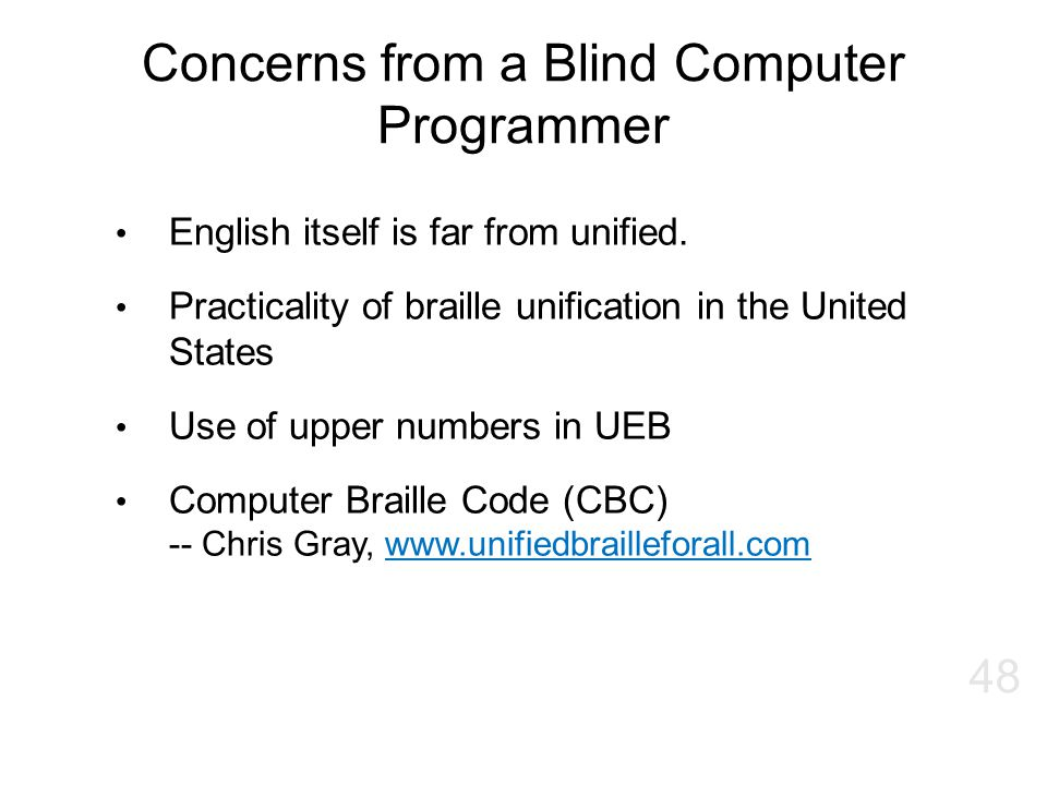 Concerns from a Blind Computer Programmer