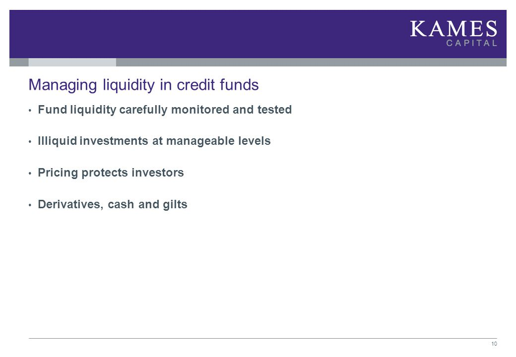 Managing liquidity in credit funds