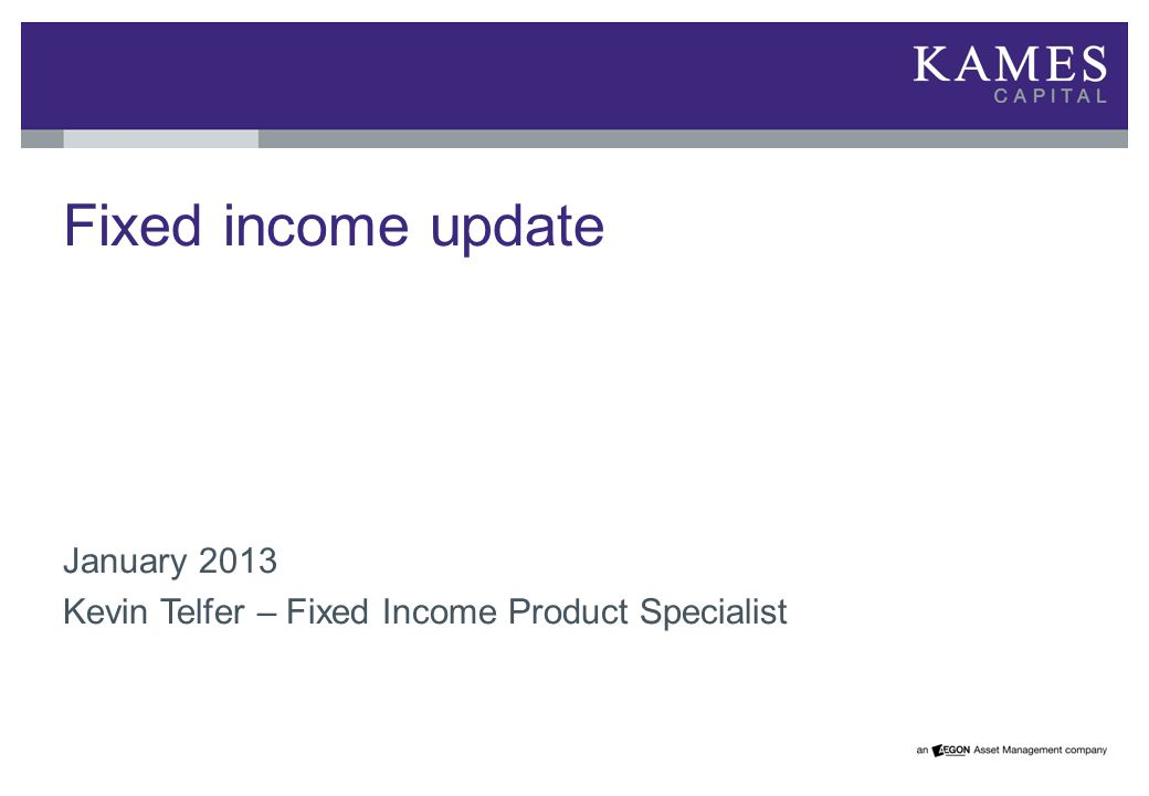 Fixed income update January 2013