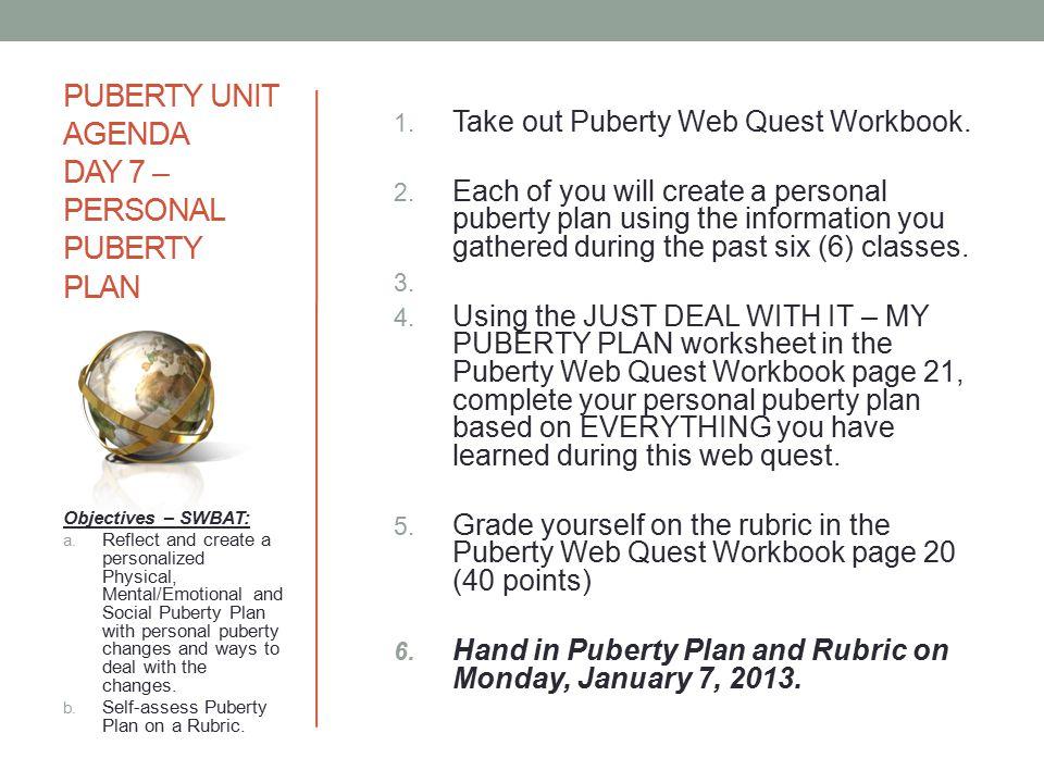 PUBERTY UNIT AGENDA DAY 7 – PERSONAL PUBERTY PLAN