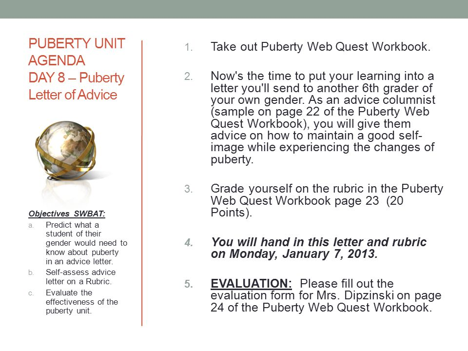 PUBERTY UNIT AGENDA DAY 8 – Puberty Letter of Advice