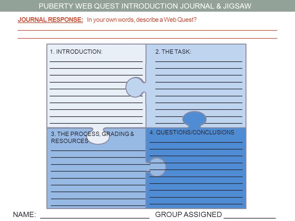 PUBERTY WEB QUEST INTRODUCTION JOURNAL & JIGSAW