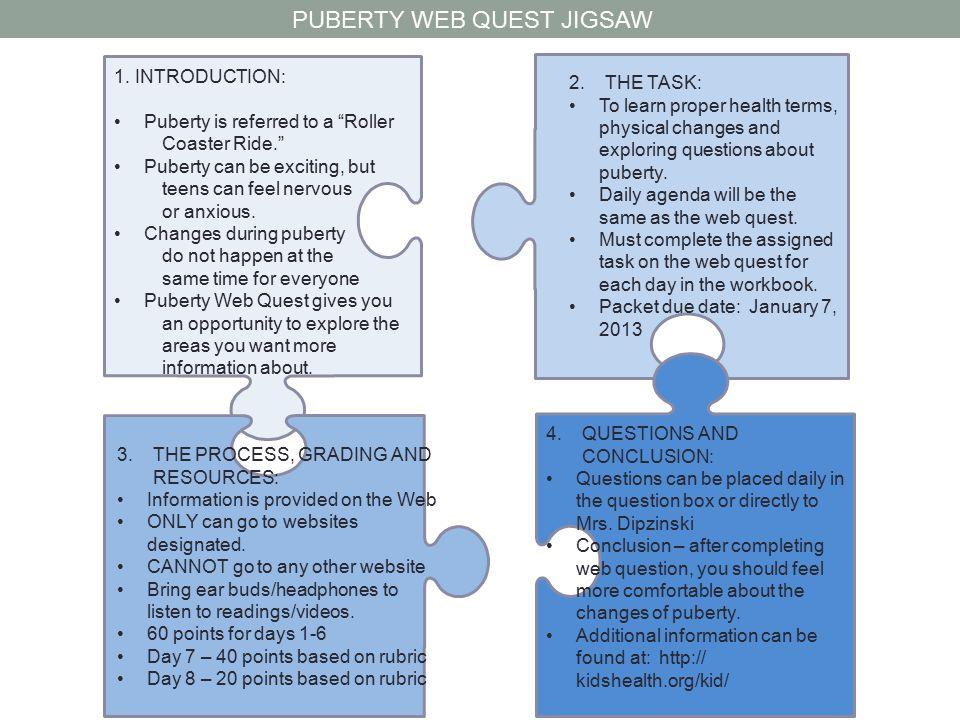 PUBERTY WEB QUEST JIGSAW