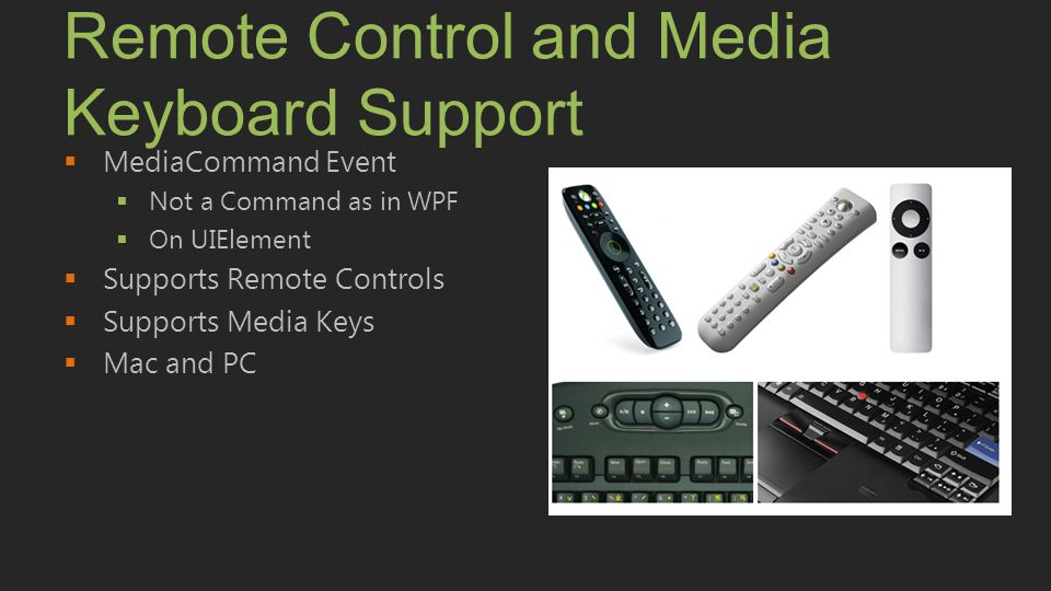 Remote Control and Media Keyboard Support