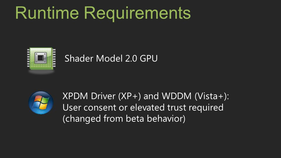 Runtime Requirements Shader Model 2.0 GPU