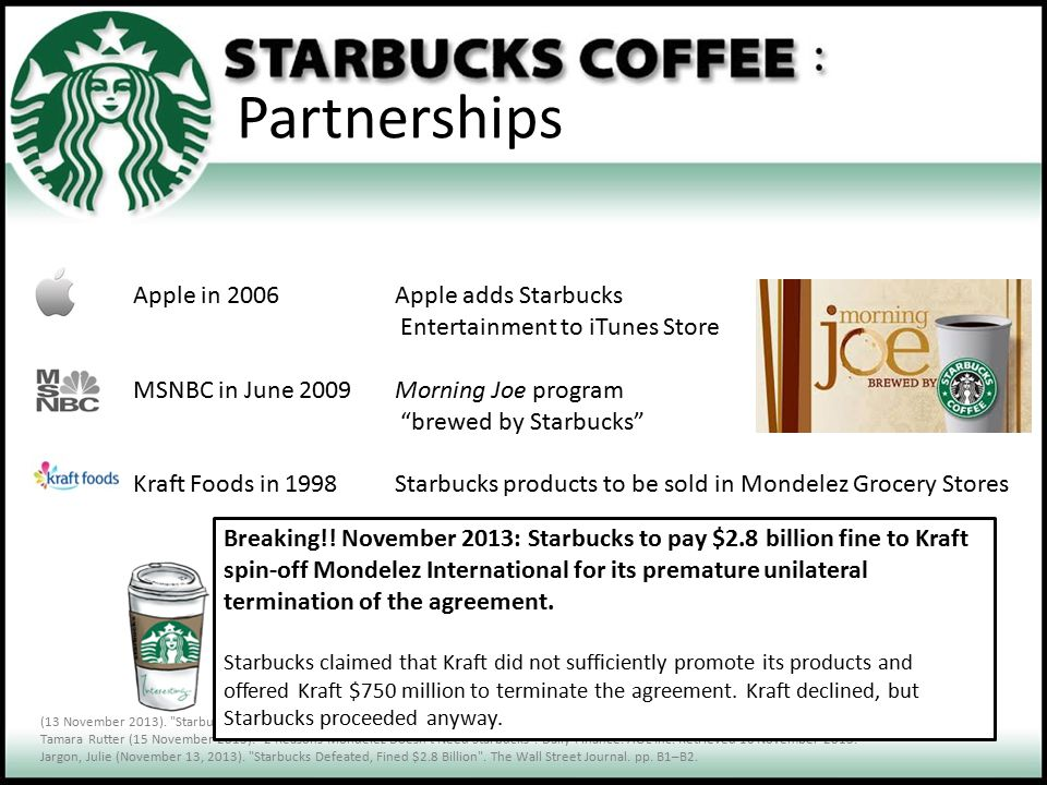 Partnerships Apple in 2006 Apple adds Starbucks