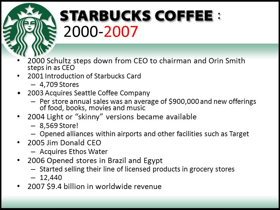 2000-2007 2000 Schultz steps down from CEO to chairman and Orin Smith steps in as CEO. 2001 Introduction of Starbucks Card.
