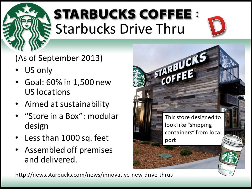 D Starbucks Drive Thru (As of September 2013) US only