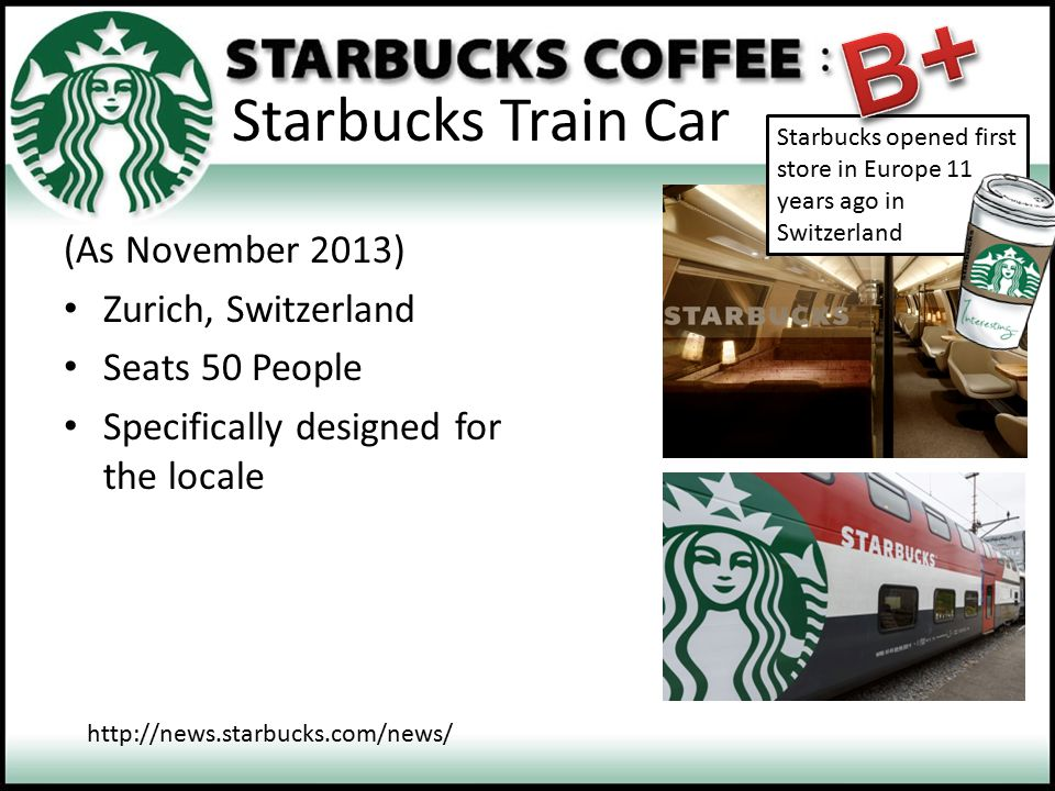 B+ Starbucks Train Car (As November 2013) Zurich, Switzerland