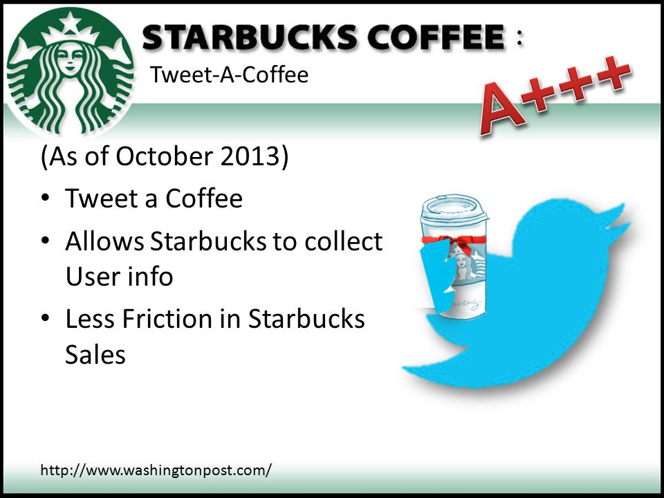 A+++ (As of October 2013) Tweet a Coffee