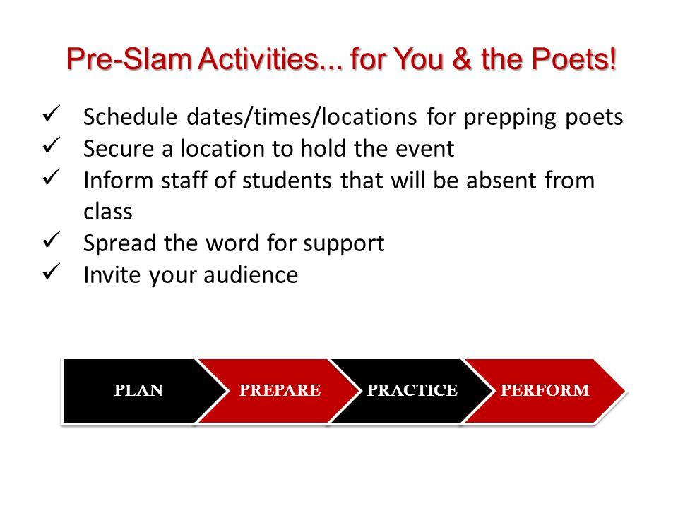 Pre-Slam Activities... for You & the Poets!