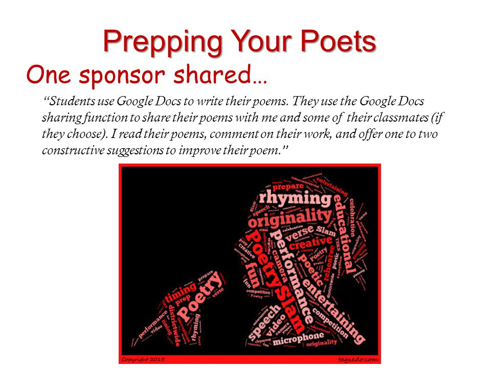 Prepping Your Poets One sponsor shared…