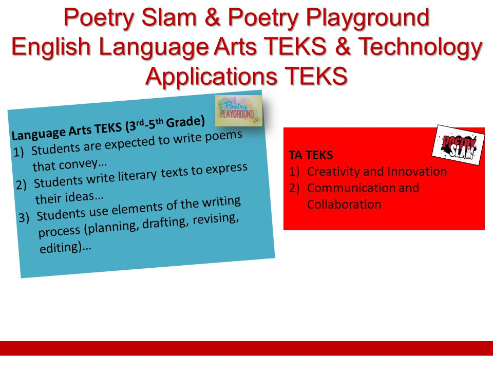 Poetry Slam & Poetry Playground English Language Arts TEKS & Technology Applications TEKS