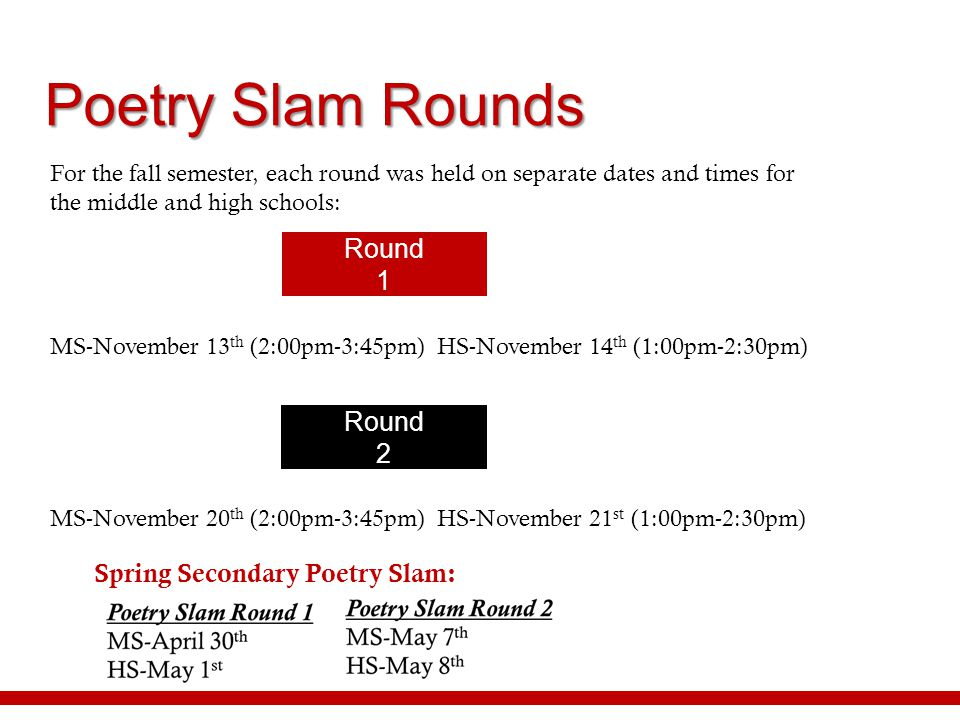 Poetry Slam Rounds Round 1 Round 2 Spring Secondary Poetry Slam: