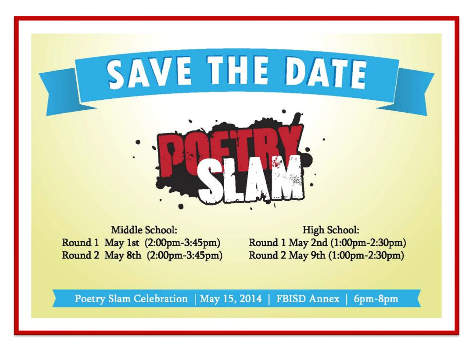 Email sent to Principals, Librarians, and Sponsors regarding the upcoming Slam