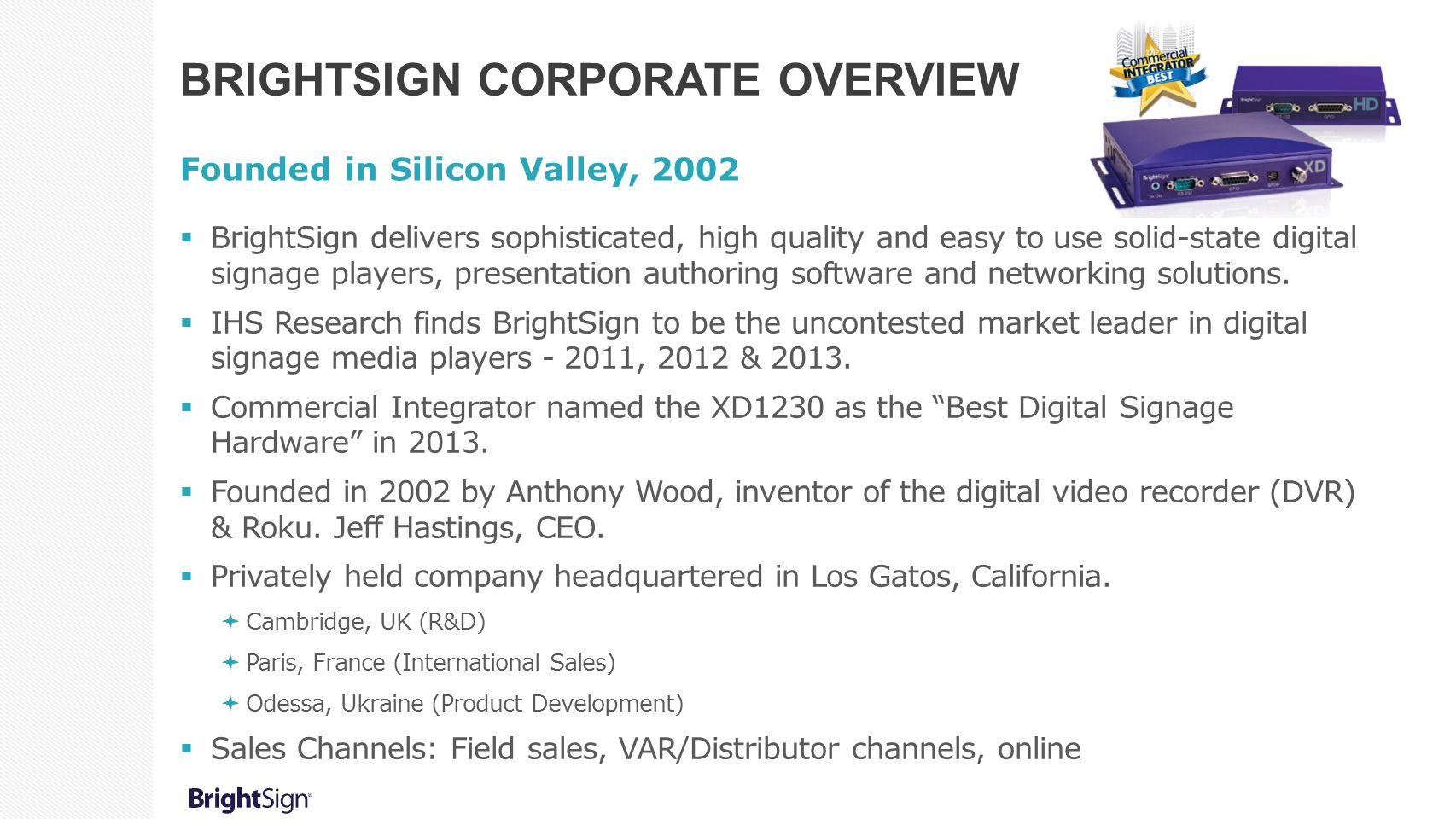 BrightSign corporate overview