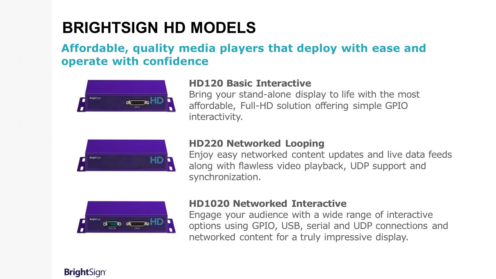 BrightSign HD models Affordable, quality media players that deploy with ease and operate with confidence.