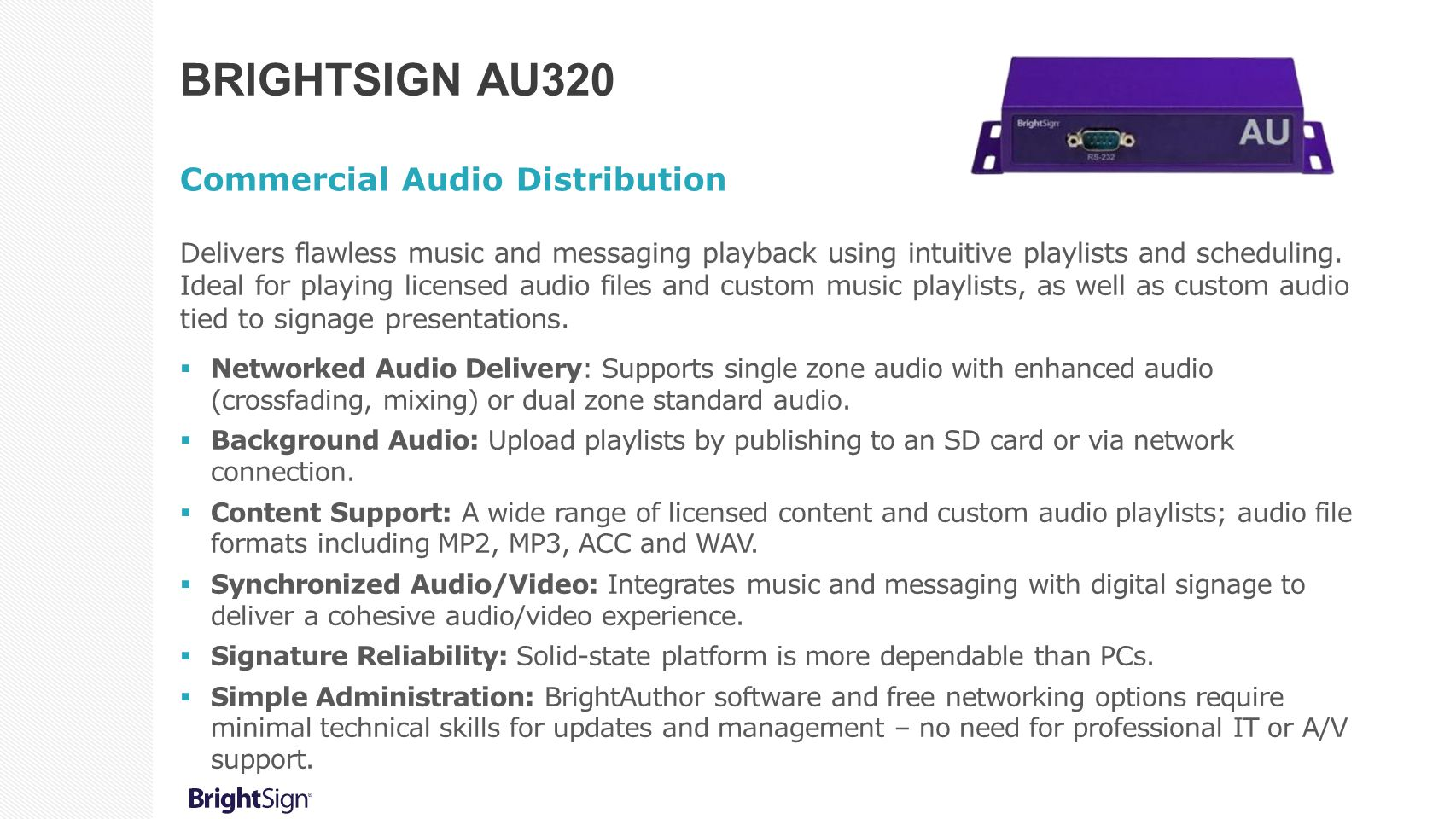 BrightSign AU320 Commercial Audio Distribution