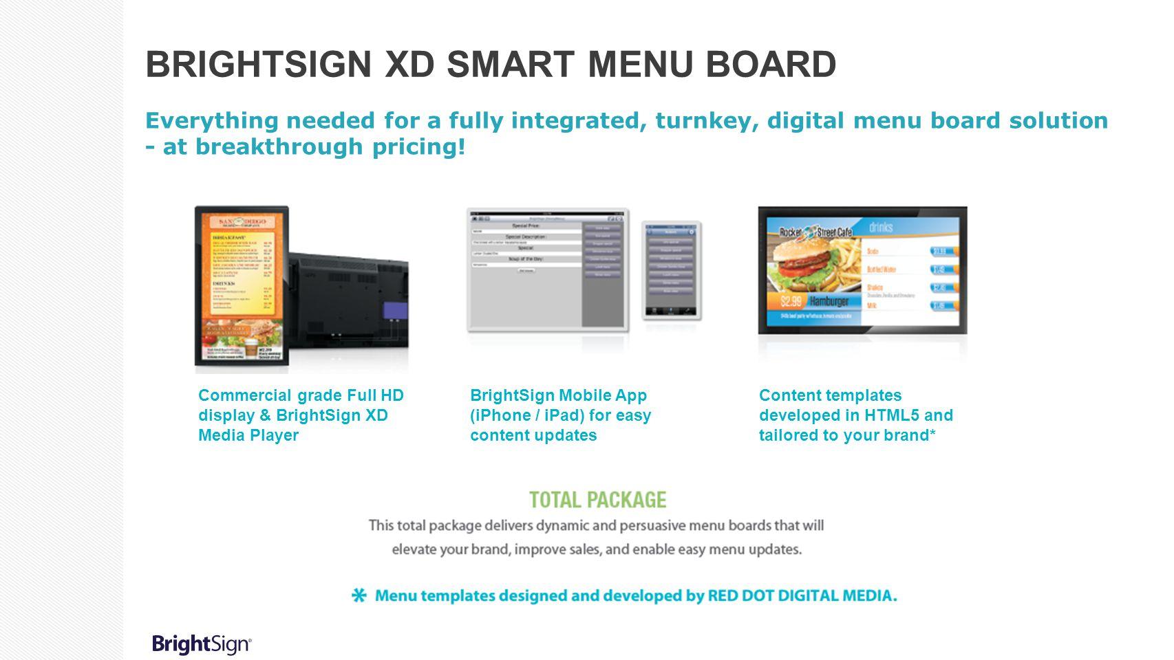 BrightSign XD Smart Menu Board