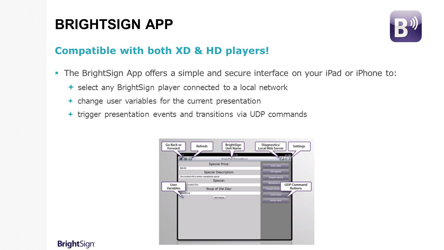 BrightSign App Compatible with both XD & HD players!