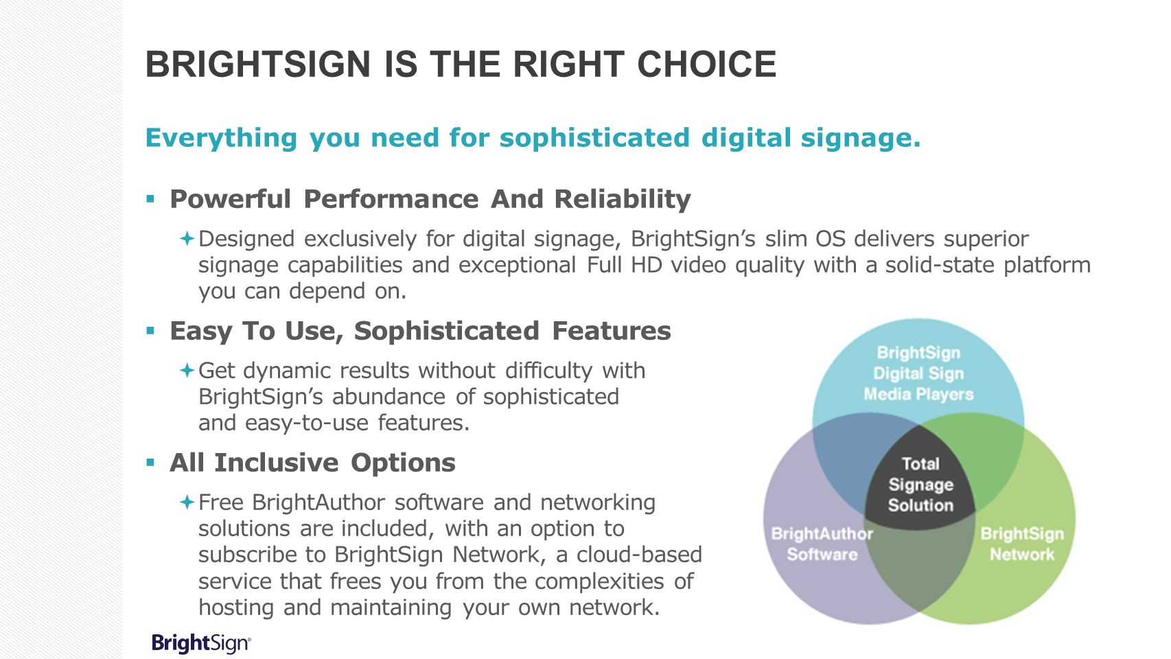 BrightSign Is the Right Choice