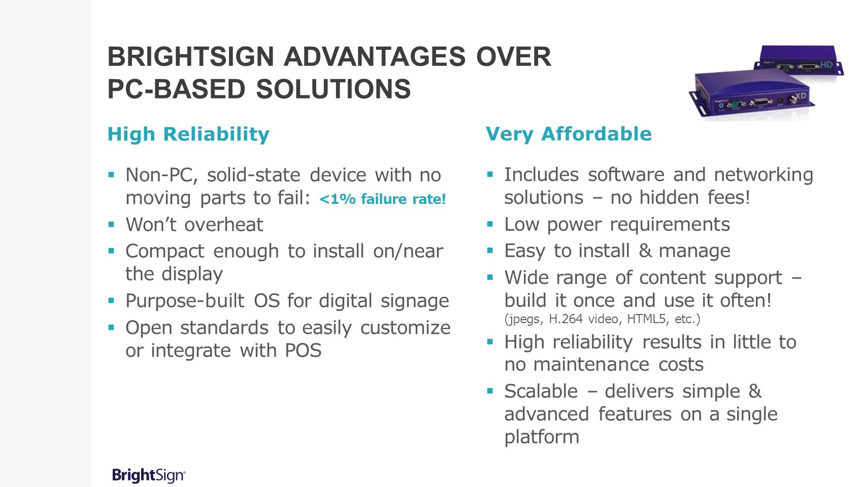 BrightSign Advantages over PC-Based Solutions
